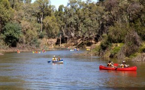 Canoeists enjoying a relaxing paddle