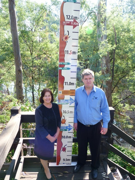 Cr Jenny Houlihan and Guy Tierney (GB CMA) pictured with the Murchison Flood Marker