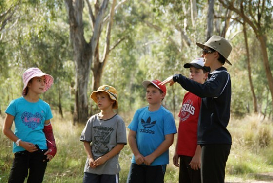 RiverConnect Education Officer, Bonny Schnorrenberg, takes kids on an educational walk