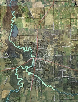 An aerial view of the RiverConnect Area.  View more detailed maps and aerial photographs  of the RiverConnect Project Area and local catchments.